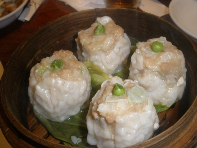 Steamed Pork Shumai with Peas