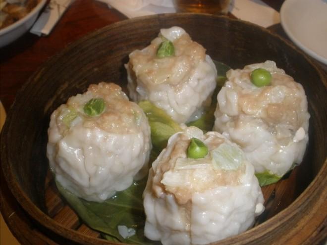 Steamed Pork Shumai with Peas